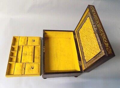 Antique Regency Rosewood Sewing Box. Brass Inlays. Original. Genuine. 8