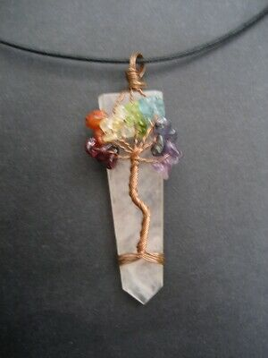 Chakra Tree Of Life Rose Quartz Crystal Gemstone Pendant with Cord Necklace 6
