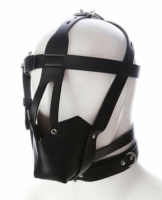 Hot Pu Leder Gimp Spielzeug Kopf Harness Hood Maske Gesicht MUZZLE Bondage Hood 5