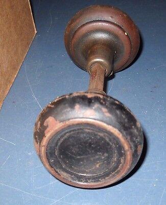 """Vintage Antique Reclaimed Black Door Knob 2 25"""" Handles & Spindle 1/4"""" Stem 2"""