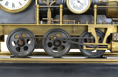Large French Style 8 Day Brass Automaton Locomotive Industrial Train Clock 10