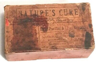 Antique Nature's Cure Blood Purifier Apothecary Pharmacy Box National Drug Co. 3