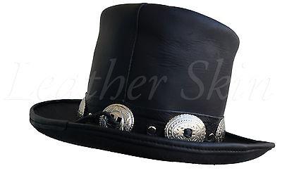 ... Handmade Genuine Black Leather Hat GUNS N ROSES SLASH Western Style  Mens Top Hat 3 593fc214da6