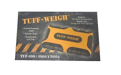 Tuff Weigh Digital Scales Pocket 100g x 0.01g JCB Style Rugged Rubber Table Top 2