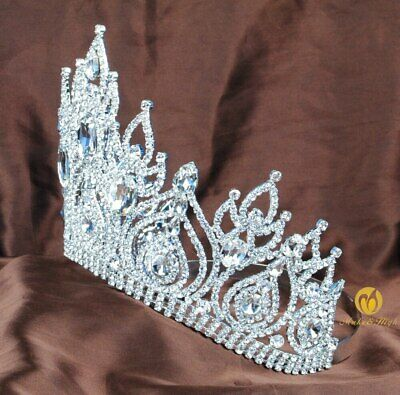 Fantastic Pageant Tiara Diadem Large Wedding Crown Crystal Bridal Prom Party New 5