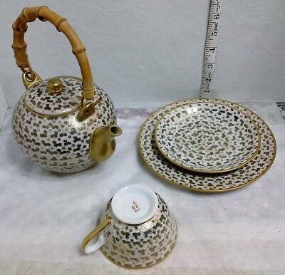 PORCELAIN GINBARI GOLD GILT FLOWERS SIGNED Tea Cup Pot Set