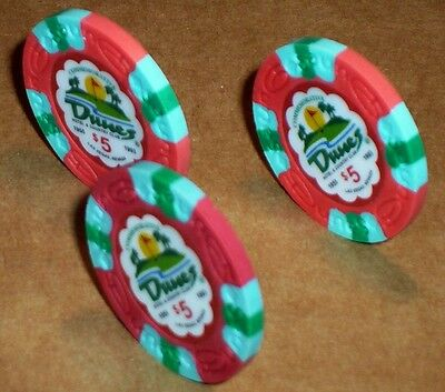 Lot 3 $5 THE DUNES Casino Poker Commemorative Chips House Mold Las Vegas NV 3