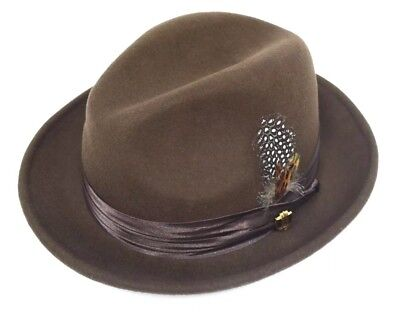 "MEN/'S BRUNO CAPELO PORK PIE COLLECTION HAT 100/% WOOL 1 7//8/"" WELTED EDGE BRIM NEW"