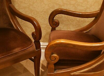 2 Armchairs/Dining Chairs Carved Solid Mahogany? Wood 8