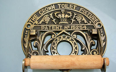 Toilet roll holder vintage style old antique CROWN solid brass heavy fixture 2