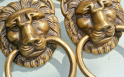 """4 PULLS handles Small heavy LION SOLID BRASS old style house antiques 2""""B 3"""