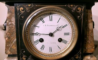 Antique J E Caldwell French Mantel Clock Set w/ Urns Marble Bronze 19th C EXLNT! 6