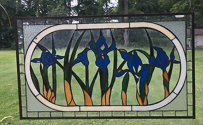"34.75""L x 20.5""H Tiffany Style Beveled stained glass window panel Iris Flowers"