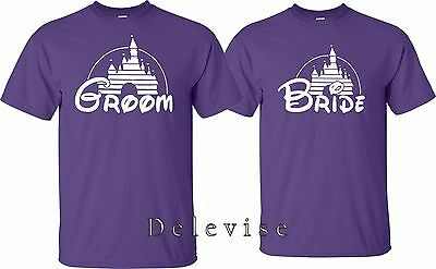 42ce2b019ba ... GROOM AND BRIDE Just Married Date On back Wedding Love matching cute T- Shirts 3
