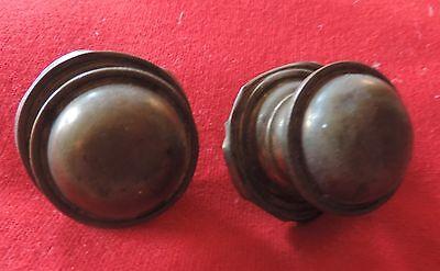 Pair Antique 19th c. Spun Brass Furniture Knob Drawer Pull Handle Federal Door 8