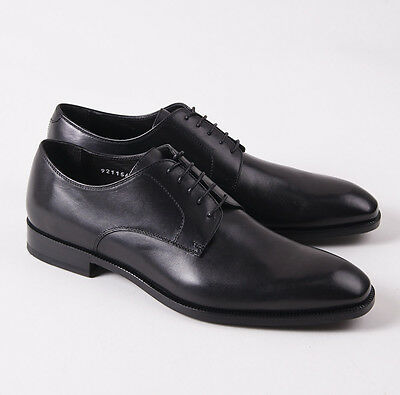 NIB $695 CANALI 1934 Black Calf Leather Plain Toe Derby US 10 D Shoes
