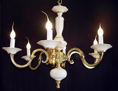 "Vintage BRASS 24"" x 20"" Spanish 6 Light WHITE PORCELAIN Chandelier Gold Accents"