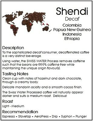 250g DONGOLA SHENDI Swiss Water Premium Blend Decaf Fresh Roasted Coffee Beans 2