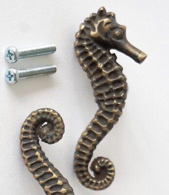 2 Sea Horse Cabinet Pull Set Door Knob Handle Seahorse pure aged Brass 7.5 cm B 7