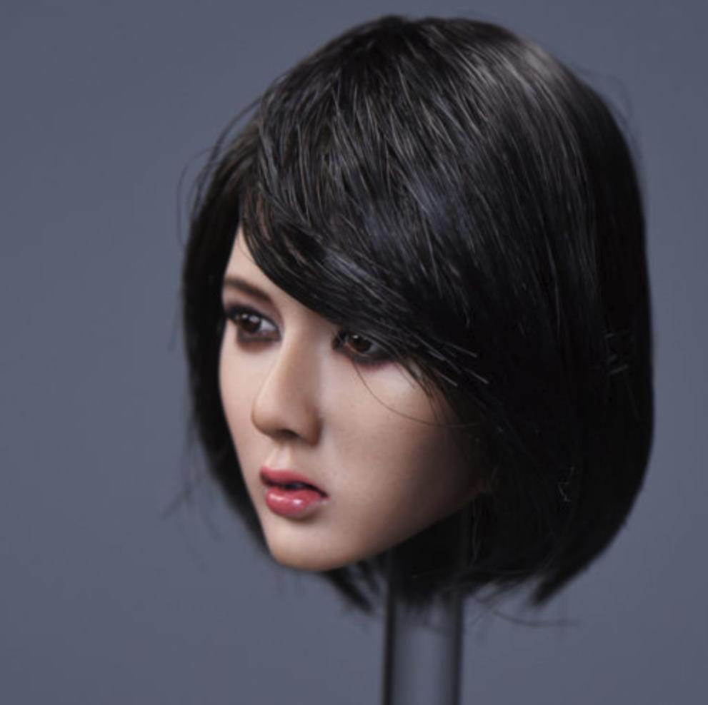 "1//6 Asian Female Head Sculpt Black Hair For 12/"" Hot Toys Phicen Figure ❶USA❶"
