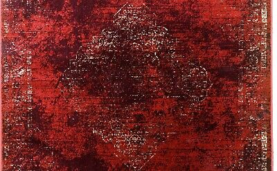 Burgundy Rug Classic Vintage Design Traditional Faded Distressed Ruby Red 4