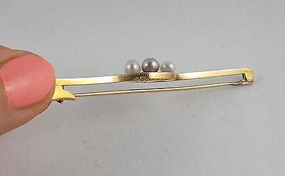 *RAR* Elegante Jugendstil Nadel Perlen Diamanten 585 Gold mit Platinauflage