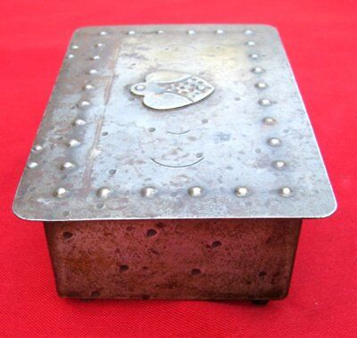 Antique Signed Scarce Small Hand Wrought Iron Box  By Goberg ~ Circa 1915 12
