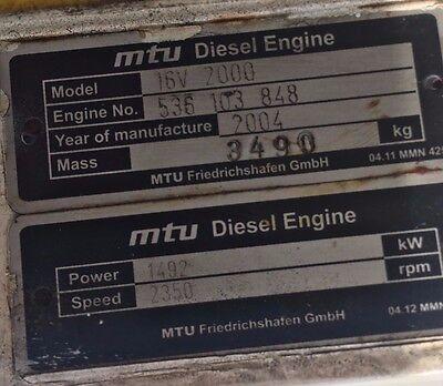 MTU 16V2000 - M91, Marine Diesel Parts Engine