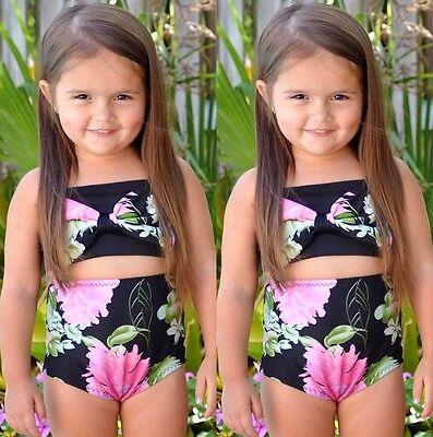 AU Flower Bow Toddler Kids Girl Bandage Bikini SetSwimwear Swimsuit Bathing Suit