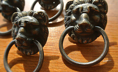 "4 PULLS handles Small heavy LION SOLID BRASS old style screws house antiques 2"" 5"