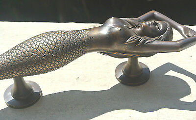 """large MERMAID solid brass door PULL old style heavy house PULL handle 15"""" aged B 6"""