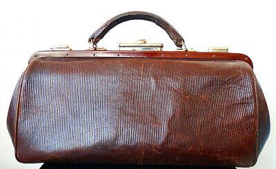 Antike Leder Arzttasche Doktortasche Tasche Sacvoyage Hebammentasche um 1900 2