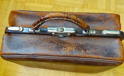 SFS Antike Leder Arzttasche Doktor Tasche Sacvoyage Hebammentasche um 1900 9