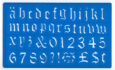 P//1610 30mm HIGH OLD STYLE ENGLISH ALPHABET STENCIL-FORM LETTERS,NO/'S /& FIGURES