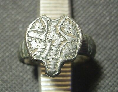 Medieval Ottoman Empire Billon Ring with a heart shaped bezel. 2