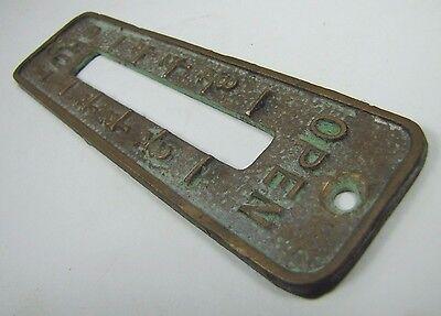 Old Brass Brnz OPEN SHUT Cover Plate Architectural Hardware elevator industrial 8