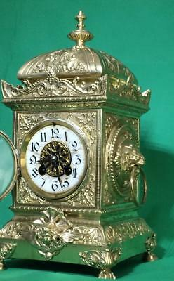 S.marti Antique French 8 Day 2 Train Rococo Mantle Clock Set With Candleabras 3