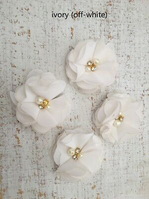 DIY Chiffon Fabric Flower with Pearls and bling Rhinestone Embellishment Craft 6