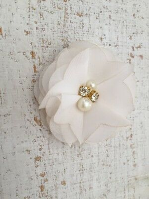 DIY Chiffon Fabric Flower with Pearls and bling Rhinestone Embellishment Craft 7