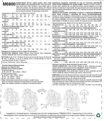 Belt ... Free UK P/&P McCalls Ladies Easy Sewing Pattern 6800 Lined Coats