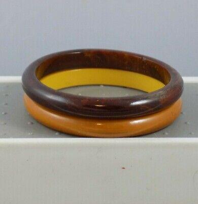 Vintage 38 Bakelite Bracelet Marbled Chocolate Brown /& Butterscotch Colors!