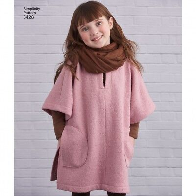 SIMPLICITY GIRLS EASY Sewing Pattern 8428 Poncho in Two Lengths  (Simplicity-8
