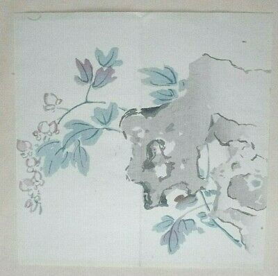 'CHINESE' ROCK & BLOSSOMS : ORIGINAL MEIJI JAPANESE WOODBLOCK PRINT By GYOKUSHO 2
