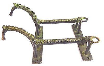 Rare Pair Horse Handmade Antique Vintage Style Brass Door Handle Set Home Decor 4
