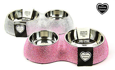Valentina Valentti Cat Dog Pet Feeder Crystallised Double Pet Food Bowl Silver S 4