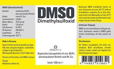 DMSO 1000ml Dimethylsulfoxid, über 99,9% Reinheit (Ph. Eur.) in Braunglasflasche 2
