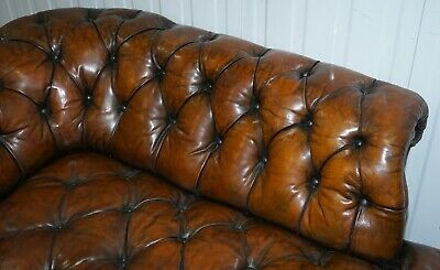 Howard & Son's Restored Brown Leather Chesterfield Chesterbed Walnut Framed 9