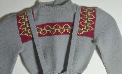 Vintage Hand Knit Girl's Wool Sweater & Skirt Outfit Uu306 2