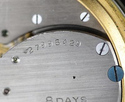 American Elgin 8 Day Travel Clock Keystone case body Gilt silveroid Leather case 5