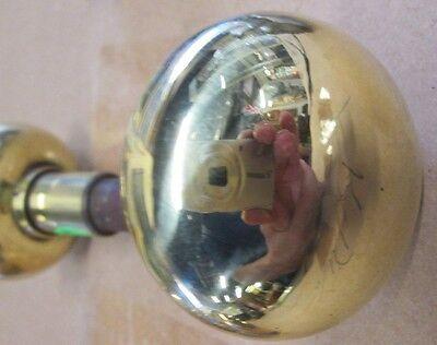 Fancy Pair Antique Victorian Polished Brass/bronze Door Knobs Ohio Estate # 43 3